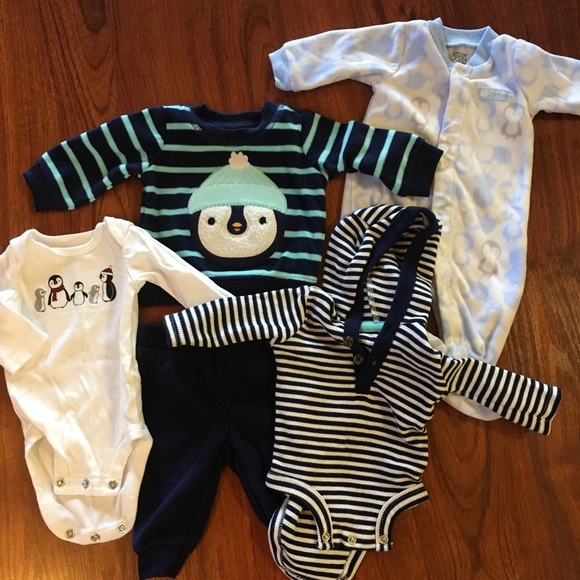 Carter S Matching Sets Lot Of 5 Pcs Carters Baby Boy Penguin Clothes